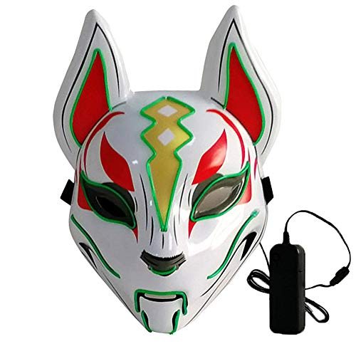 L'VOW Glowing Fox Drift Mask Headgear LED Light Up Masks for Party Cosplay Halloween Costume Props (Green)