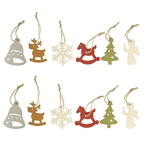 Cici & Jimmy's 12pcs Christmas Tree Bell Snowflake Reindeer Angel Horse Ornaments Blank Wood Gift Tags Crafts Wood Slices with Holes ()