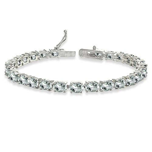 Sterling Silver 6X4mm Aquamarine Oval-cut Tennis Bracelet by GemStar USA