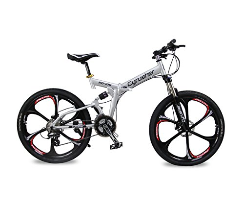 VTSP RD100 Cyrusher Full Suspension Frame Mountain Bike for Man Shimano Aults M310 24 Speeds Disc Brake (Silver) Review