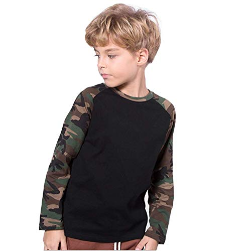Koupa Boys Camouflage Sleeved T-Shirt Long Sleeved Shirt (Black,7-8 Years)
