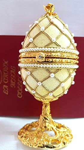 - Unique Faberge egg Authentic Goose Egg decorated with simulated Diamonds & Pearls embellished with 24ct Gold egg Faberge figurine musical trinket box Limited Edition Collectible Item