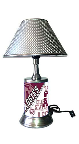 - JS Table Lamp with Chrome Colored Shade, Texas A&M Aggies Plate Rolled in on The lamp Base