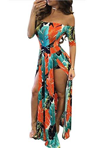 Fendue Party des Robe Beach Floraux Motifs Maxi Orange Courte Epaule Culotte 60w7qxZxz