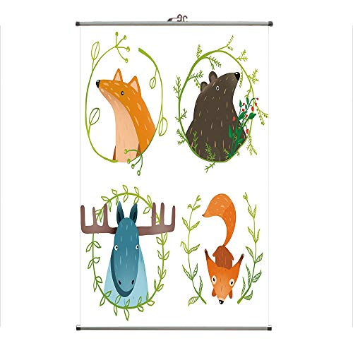 Poster Set Branches - iPrint Wall Hanging Picture Wall Scroll Poster Fabric Painting,Set with Laurel Branches Cartoon Style Funny,3D Print Design Personality Customization Make Your Room unique23.6 X23.6