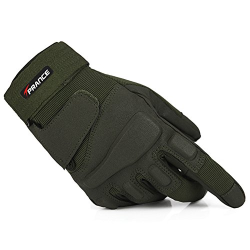 TPRANCE® Reinforced Tactical Gloves Tan PU Leather + Nylon Outdoor/Fahrrad/Shooting/Driving with Adjustable Velcro L Army Green