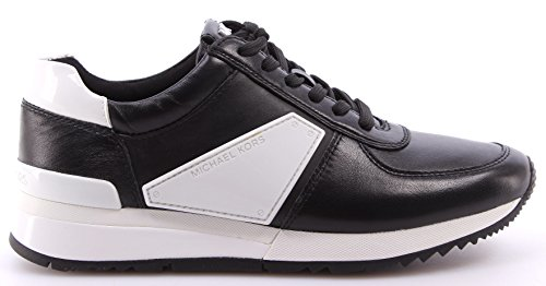 Zapatos Mujeres Sneakers MICHAEL KORS Allie Plate Wrap Trainer Leather Black New Negro