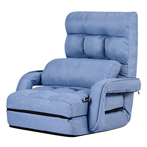 Giantex Folding Lazy Sofa Floor Chair Sofa Lounger Bed with Armrests and a Pillow Lounger Bed Chaise Couch (Blue)