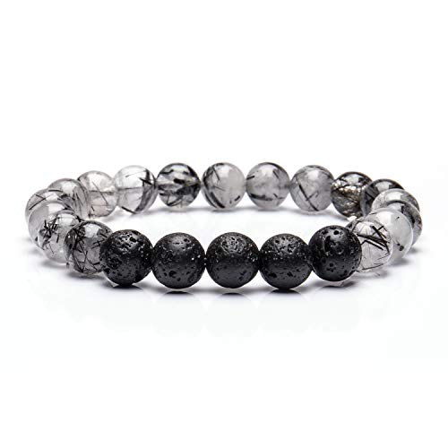 Wisdom Aromatherapy (Bivei Lava Rock Stone Essential Oil Diffuser Bracelet - Natural Semi Precious Gemstone Beads Healing Crystal Bracelet(Black Tourmalated Quartz))