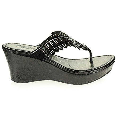 Crystal Wedge Size Shoes Ladies Heel AARZ Black Low Sandal Slip LONDON Casual Comfort Diamante On Womens Lightweight 4Awfqt