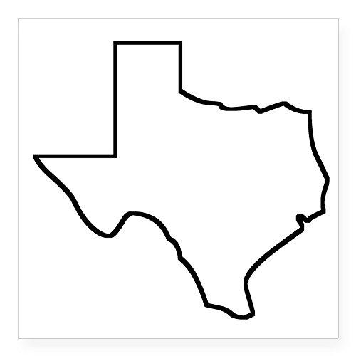(CafePress Texas Outline Sticker Square Bumper Sticker Car Decal, 3