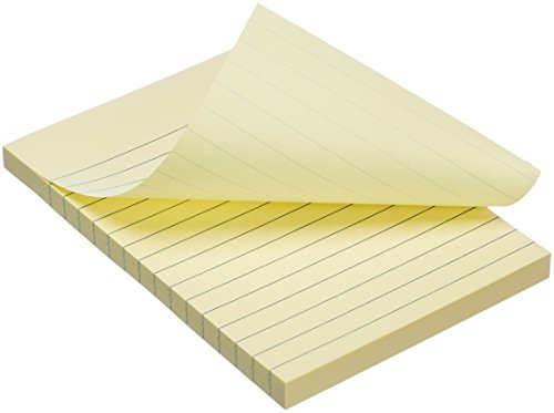 "AmazonBasics Lined Sticky Notes - 4"" x 6"", Yellow, 5-Pack"