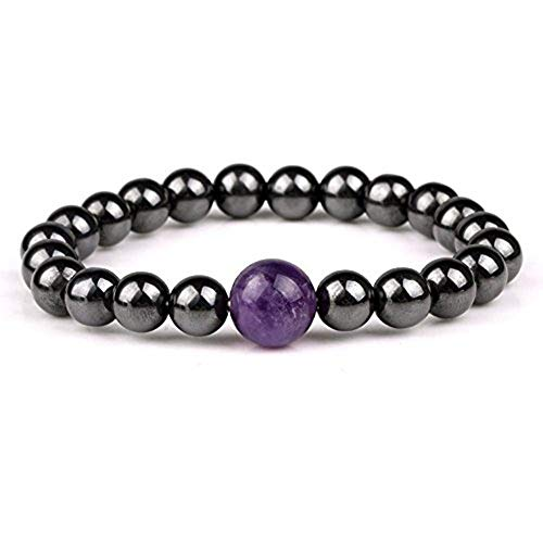 Bracelets For - 100 Natural Amethyst Stone Crystal Reiki Healing Energy Hematite Magnetic Stretch Bracelet Relief - Sparkling Elderly Boys Rubber Stainless Pregnancy Nurses Foot Kids Bridesmai