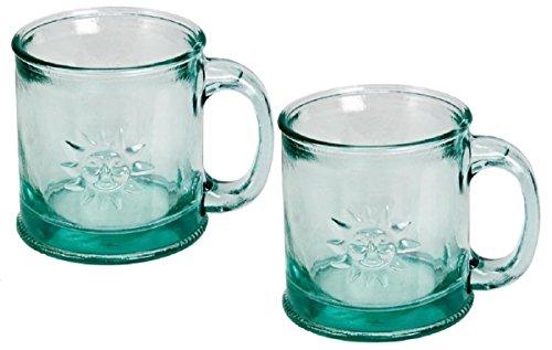 Down To Earth Clear Handmade Glass Sun Mug,10oz (Pack of 2) (Recycled Glass Jar)