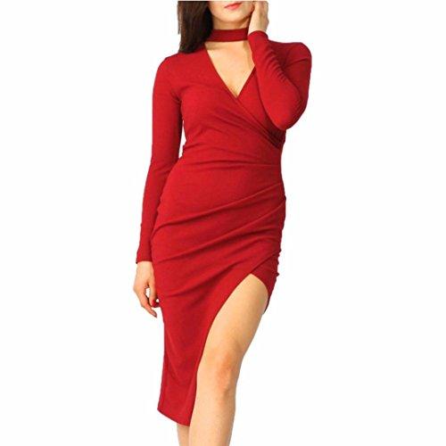 Party Dresses,Beautyvan Women Women Choker Wrap Over Asymmetric Long Sleeve Pencil Party Dress (M, (Boys Superman Longsleeve Costumes Tshirt)