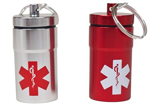 Ultra-Portable Stash Jar - Small Airtight Aluminum Smell-Proof Container with Medical Emblem Design for Men & Women - Screw Lid Lock Secures Medications, Herbs, Pills & More - Keychain Fob – 2 Pack