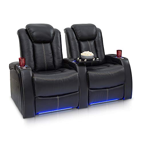 Cheap Seatcraft Delta Leather Home Theater Seating Power Recline with Adjustable Power Headrests and SoundShaker (Row of 2, Black)