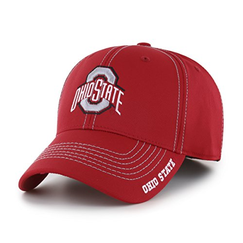 OTS NCAA Ohio State Buckeyes Adult Start Line Center Stretch Fit Hat, Medium/Large, Red (Basketballs Ohio State)