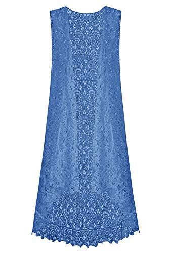 Lace Front Open Sleeveless Top Cardigan Crochet Vest Bikini Cover up Summer Beachwear (Free Size, Sky Blue)