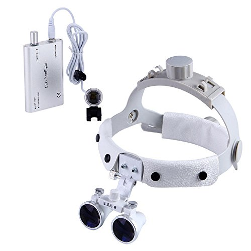 Doc.Royal3.5X420mm Dental Binocular Loupe Surgical Leather Headband Glasses DY-108 White +LED - Leather 108