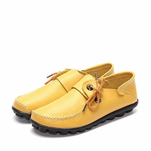 Cuero Casuales Zapato Mujeres de Nuevo Planos Bridfa Mujer Mocasines Con Conducci Oto Cordones de Zapatos Vaca de Mocasines o Femeninos Zapatos de Las Estilo pqzXaFx