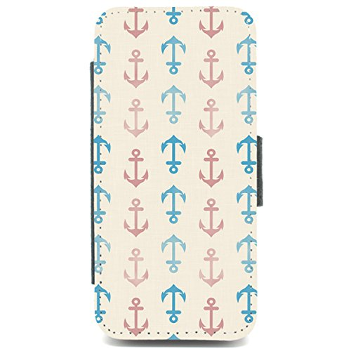 iPhone 5/5S Anker Muster Nautical Sea Print Retro Geldbörse Handyhülle