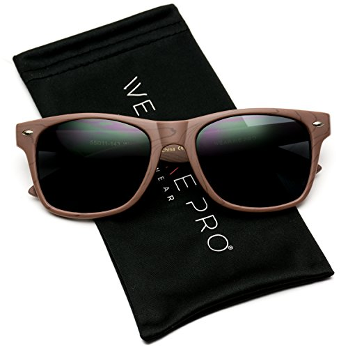 Faux Wood Reflective Revo Color Lens Horn Rimmed Sunglasses (Black Wood Print/Black Lens, 54)
