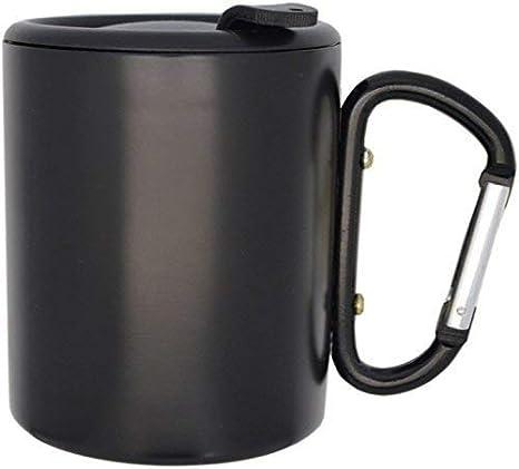 Vaso de acero inoxidable con ganchos Carabina Negro y tapón ...