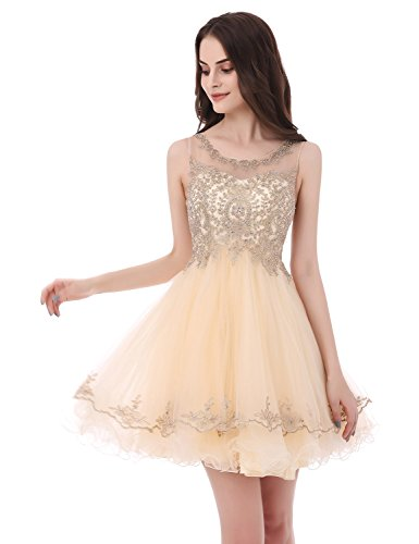 Sarahbridal Women's Short Tulle Prom Dresses Appliqe Homecoming Cocktial Party Gowns Ivory (Beaded Short Dress Cocktail Dress)