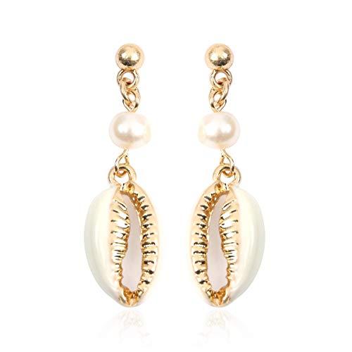 RIAH FASHION Natural & Metallic Cowrie Seashell Pendant Bead Summer Beach Jewelry - Conch Scallop Shell Handmade Woven Bracelet, Earrings, Choker Necklace (Pearl & Enamel Cowrie Dangle - Gold -
