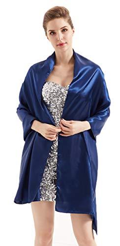(Alivila.Y Fashion Womens Satin Soft Long Wrap Scarf Shawl-Navy Blue Satin)