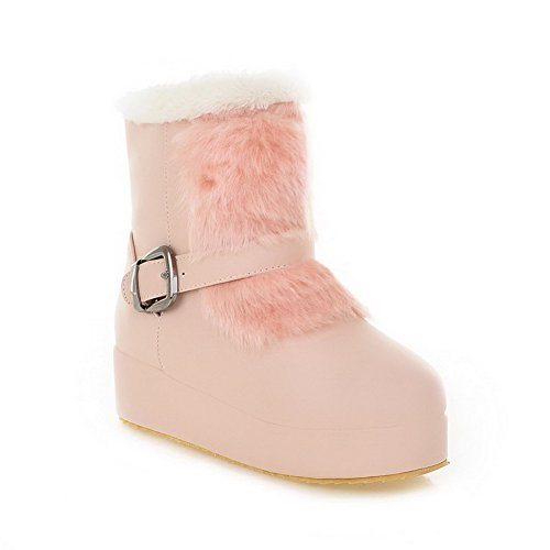 AmoonyFashion Womens Round Closed Toe Kitten Heels Solid PU Boots with Wedge Pink