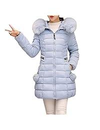 PENATE Women Winter Warm Down Jacket Slim Solid Plush Hairball Cotton Coat Parka