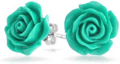 Bling Jewelry Silver Plated Blue Resin Flower Rose Stud Earrings