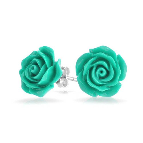3D Craved Teal Aqua Green Rose Flower Stud Earrings For Women For Teen For Mother Silver Plated Post