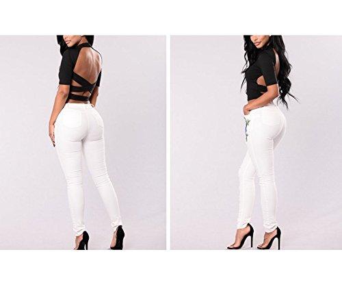 Con Zip Fiori Donna Bianca Fori Jeans Skinny Ricamati Da E Fuweiencore qwx4aAXnfa