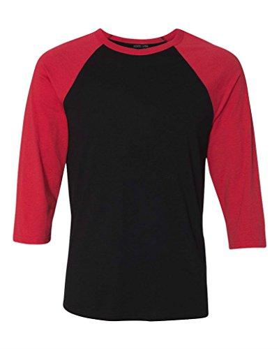 Joe's USA(tm - Unisex Three-Quarter Sleeve Baseball Raglan T-Shirt -Black/Red-M