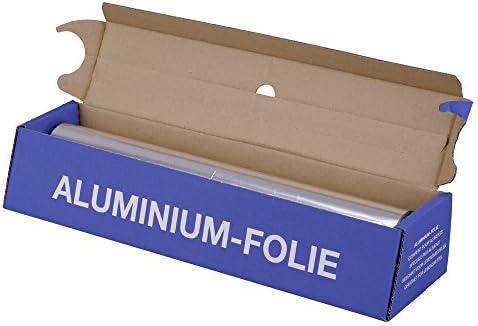1x Alufolie, Spenderbox, Silber, stark, Abreißschiene, 12 my, 45 cm x 150 m