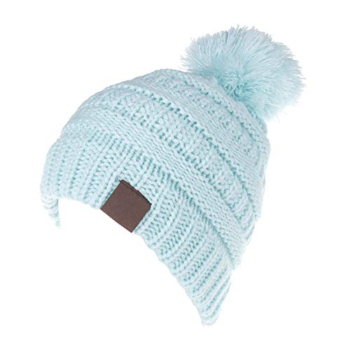 KPWIN Toddler Winter Hats, Baby Kids Toddler Cable Knit Winter Beanie Hat with Pom Pom (Light Blue)