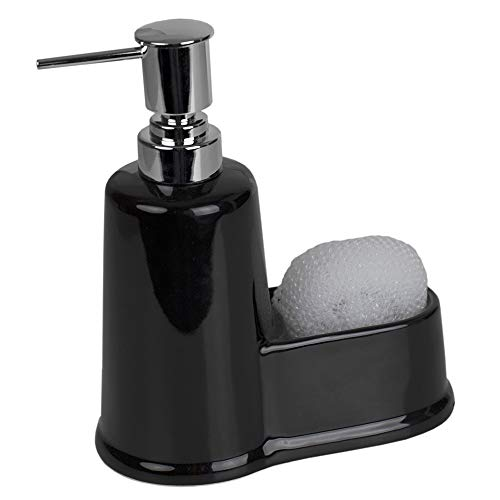 (Home Basics Short Ceramic Soap Dispenser with Built-in Sponge Scrubby Caddy Holder Compartment Storage for Kitchen Sink Countertop, Bathroom, Vanity Organization (Black))