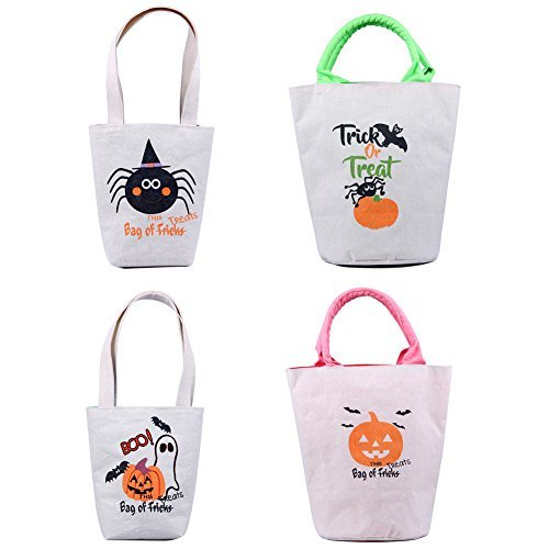 Outy Personalized Halloween Treat Bags 4 Pack Assortment, Customized Canvas Trick Candy Bag with Pumpkins, Jack-o-Lanterns, Ghosts, Witches & More (2 Small, 2 Big Sacks)