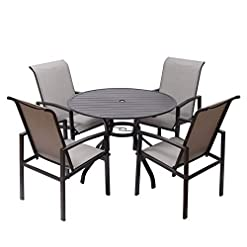 Garden and Outdoor FRP 5 Pieces Outdoor Dining Set Patio Furniture with Metal Slat Finish, Steel Tube 38″ Round Patio Table, Patio Table and Chairs with 1'5″ Umbrella Hole patio dining sets