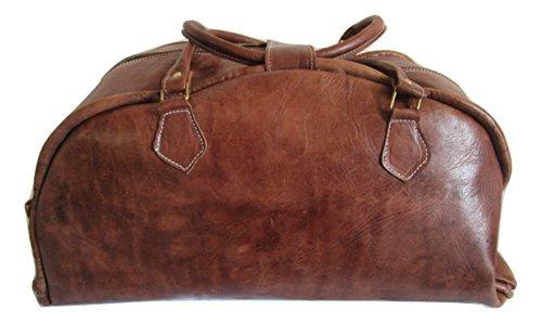 Borsa Viaggio Vintage del Marocco in Pelle vera lavorata a mano bagaglio a mano