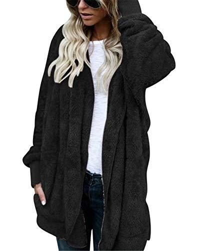Cerniera Cappotti Peluche In Di Nero Modo Stile Donna Strada Elegante Inverno Giacca 5H1x0wqnBw