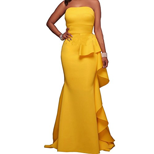 Shinieny Women's Strapless Ruffles Bodyc - Yellow Ruffle Shopping Results