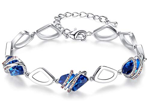 Leafael [Presented by Miss New York] Wish Stone Made with Swarovski Crystals Focal Shape 18K Rose Gold Plated Sapphire Blue Bracelet, 7