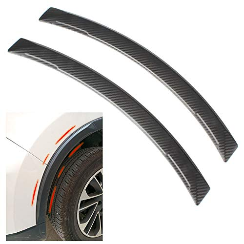 COSMOSS Car Wheel Fender Eyebrow Edge Trim Protector Carbon Fiber Pattern Rubber Strips Side Bumper Protection Guard Automobile Anti-Scratch Corner Pad Fit Most Car SUV Pickup Truck,2 pcs (Black)