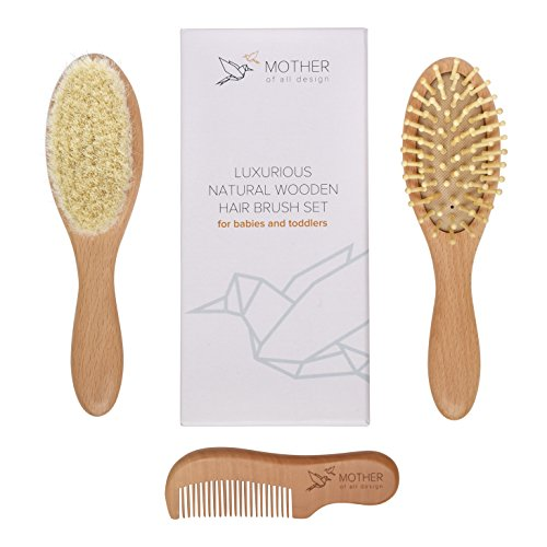 Mother Of All Design Natural Wooden Babies Hair Brush And Comb Gift
