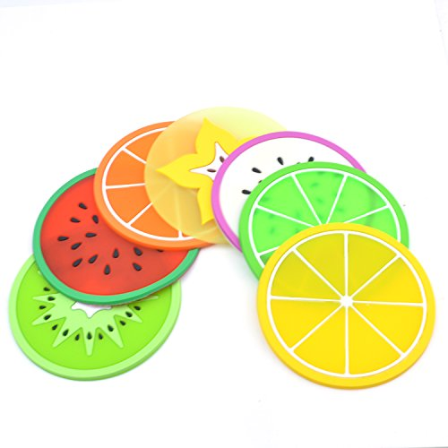 GXHUANG Silicone Fruit Coasters Set, Set of 7 (Colorful), Fruit Green Orange Pitaya Kiwi Carambole Watermelon Lemon