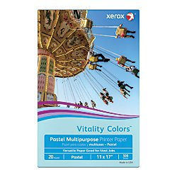 Xerox(R) Vitality Colors(TM) Multipurpose Printer Paper, Ledger Paper, 20 Lb, 30% Recycled, Blue, Ream of 500 Sheets